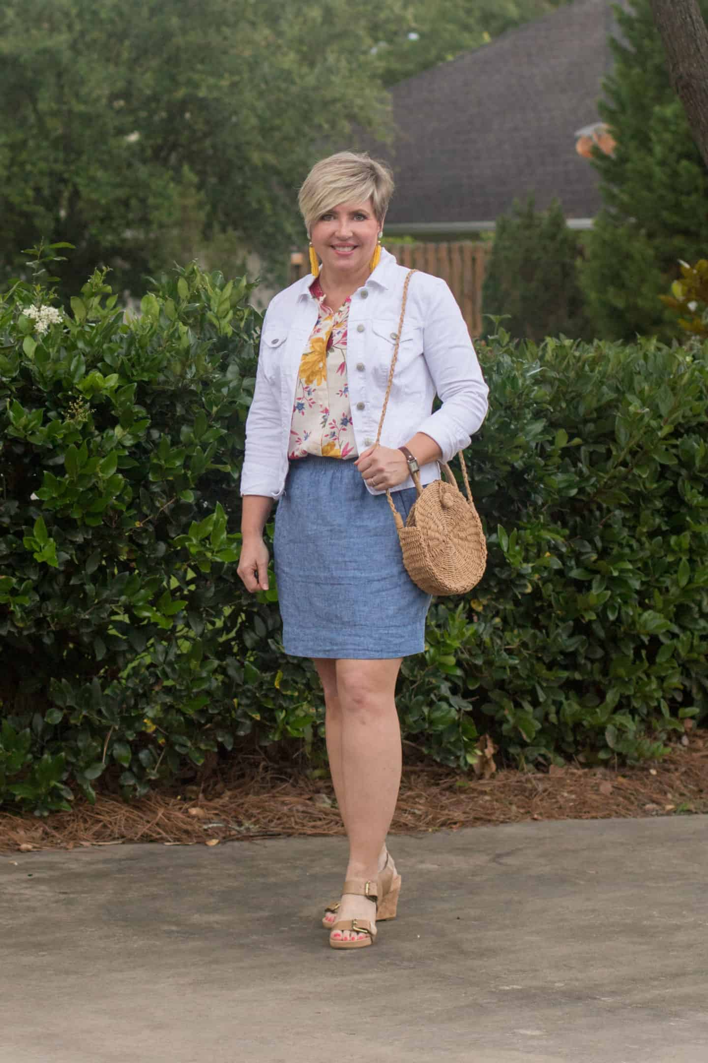 white denim jacket with chambray skirt