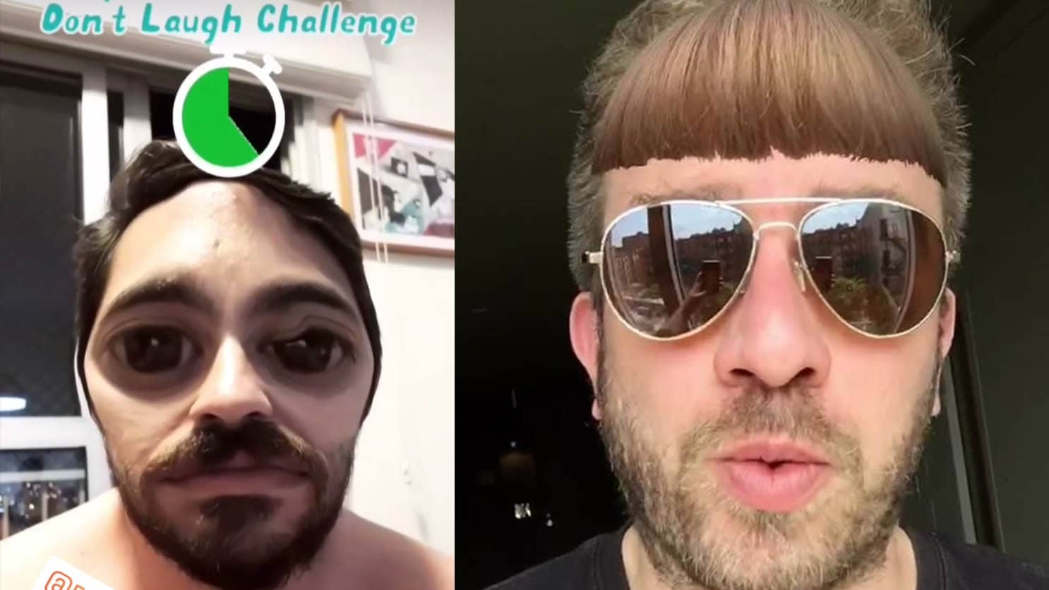 bangs don't laugh challenge filter instagram tiktok