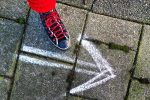 foot, shoe, step, arrow