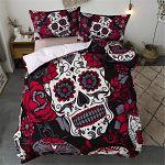 Ropa-de-Cama-calavera-Halloween-Esqueleto-Decoración-almohada-sábanas-de-cama-con-calaveras