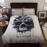 Sacred-Heart-almohada-calavera-multicolor-sábanas-de-cama-con-calaveras