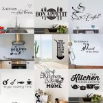 Kitchen Wall Stickers Vinyl Wall Decals for Kitchen English Quote Home Decor Art Decorative Stickers PVC Dining Room For Bar PVC