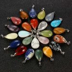 Natural Stone Drop Pendants DIY Necklace stone Crystal Chakra Healing Reiki Beads Charms Jewelry making Mix colors 10pcs/lot