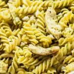 Closeup of Pesto Pasta