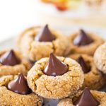 Flourless Peanut Butter Cookies stacked on plate