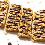 Healthy cereal bars with chocolate chips and drizzle
