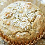 Closeup Tahini muffin with sesame sprinkle on top