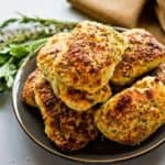 Savory Ricotta Scones on a plate with napkin