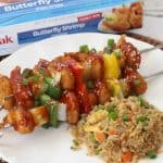 Sweet And Sour Shrimp Skewers With Vegetable Fried Rice