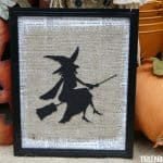 Framed Burlap Witch Art