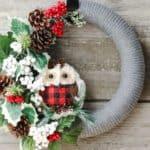 Upcycled Woodland Owl Christmas Wreath