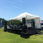 Medium PA System hire used at an Outdoor gig, Medium hire sound system hire auckland for bands playing music in parks, pa system hire auckland