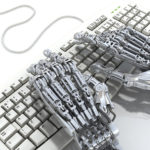 robot working at keyboard