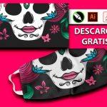 Diseños para sublimar taoabocas día de los muertos catrina