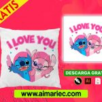 plantilla para cojines Stitch y Yuna para enamorados
