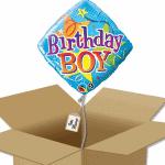 Ballon carré anniversaire garçon dans sa boîte.
