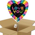 Ballon coeur love you multicolor dans sa boîte