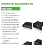 Lithium Iron Phosphate Battery (LiFePO4) Module for Telecommunication (10Ah to 100Ah)