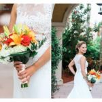 Bride holding a bouquet of tropical flowers in red, orange and white. Flowers by Marco Island Florist.