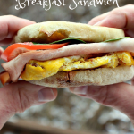 This Hearty High Protein Breakfast Sandwich can be prepared in advance and refrigerated or frozen until you want to eat one. When your on your way out the door in the morning, heat one up, add your toppings and your ready to start the day out on the right foot.