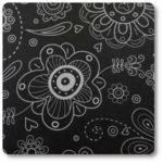 materiał w czarne kwiaty