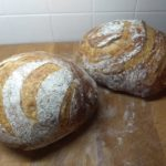 two loaves of fresh-baked bread.