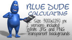 Blue Dude Using Calculator