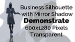Business Woman Demonstrating Silhouette Mirror Transparent