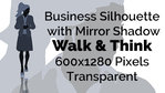 Business Woman Walking Thinking Silhouette Mirror Transparent