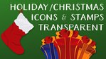 Holiday Christmas Icon Stamps Collection Flat Transparent