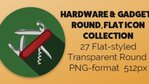 Hardware and Gadgets Round Flat Icons