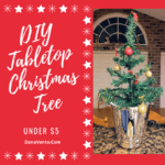 DIY Tabletop Christmas Tree in A Bucket Under $5. DIY, Dollar Tree Materials, Bulbs, Ornaments, Bows, Glue, Glue Guns, Homemade, Inexpensive, Garland Drape, Trees, Fast, Easy, DIY Video, Step By Step, Dollar Tree Project, Dollar Tree Holiday Project, Tabletop Christmas Tree, Tabletop Tree, Ice bucket, DANA and DIY