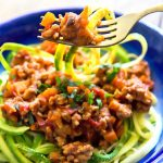 Healthy Bolognese Zoodles on fork