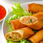 Thai Spring Rolls on plate with lettuce