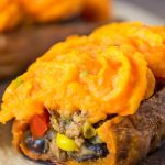 Stuffed sweet potato with ground beef filling