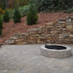 firepit with stone wall