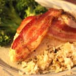 Baked Bacon Wrapped Chicken with Brown Rice and Broccoli