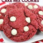 Share some love this Valentine's Day with these 4-ingredient Red Velvet Cake Mix Cookies. This cookie recipe is so chewy and delicious. #cookies #cakemixcookie #redvelvet #redvelvetcookies