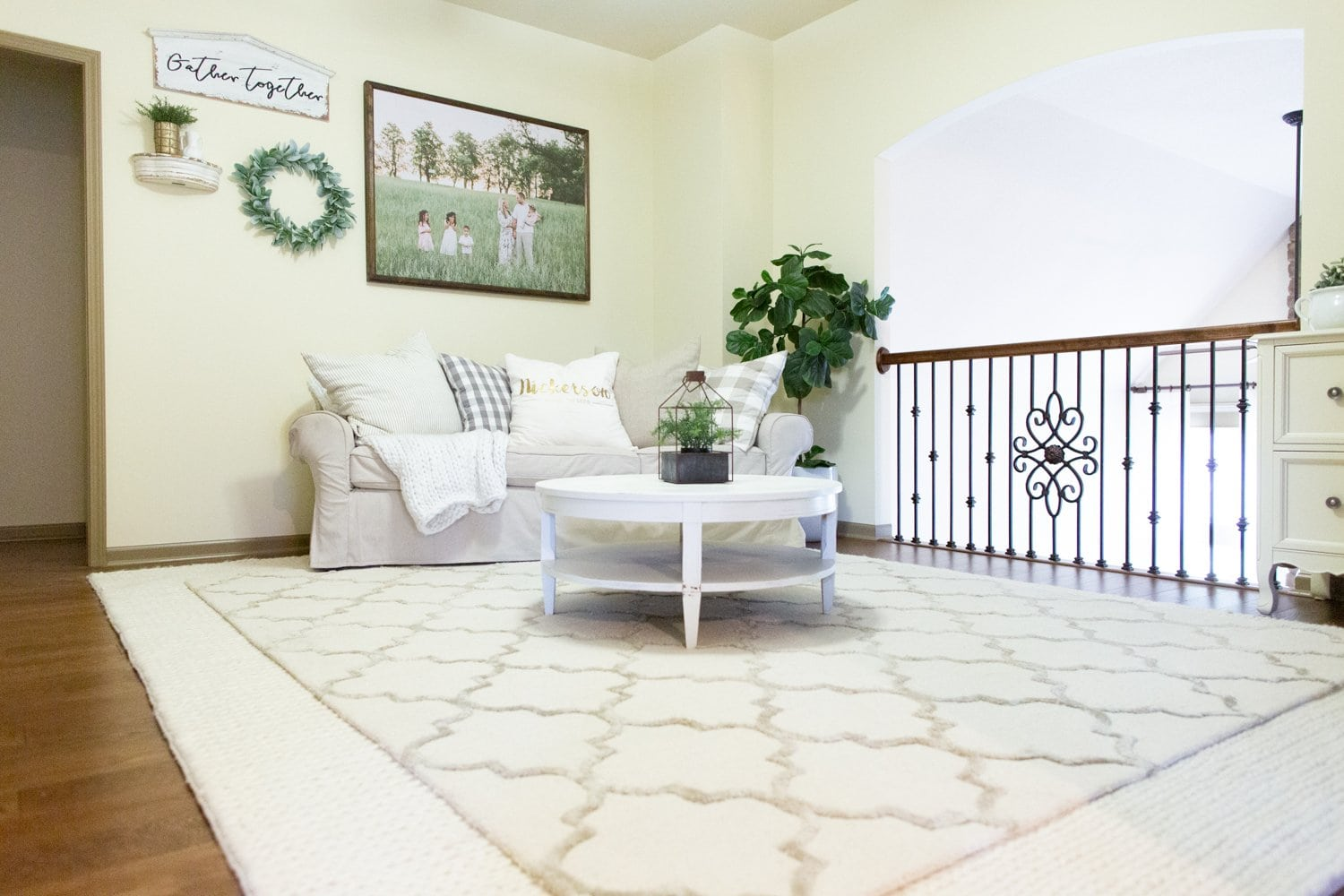 Benjamin Moore Simply Irresistible Cream Paint Color family room