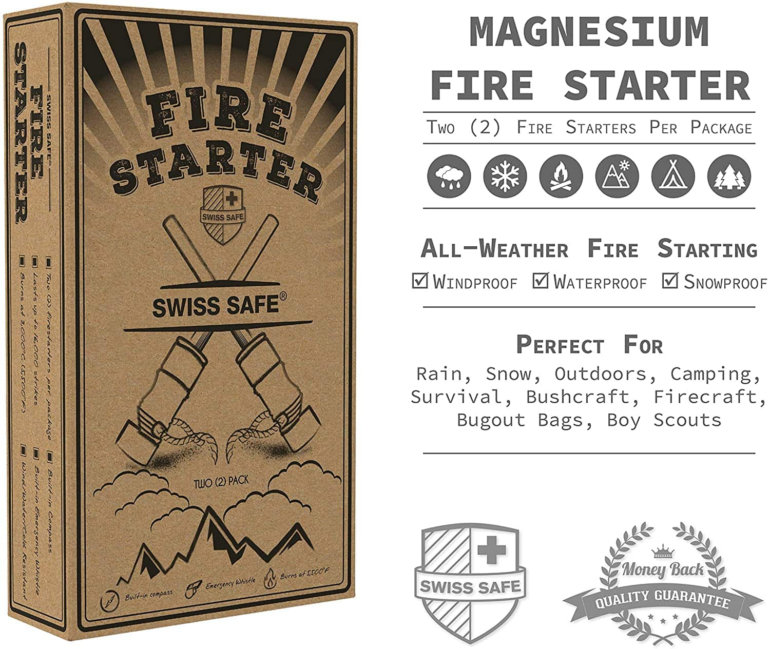 Swiss Safe 5-in-1 Fire Starter with Compass, Paracord and Whistle 3