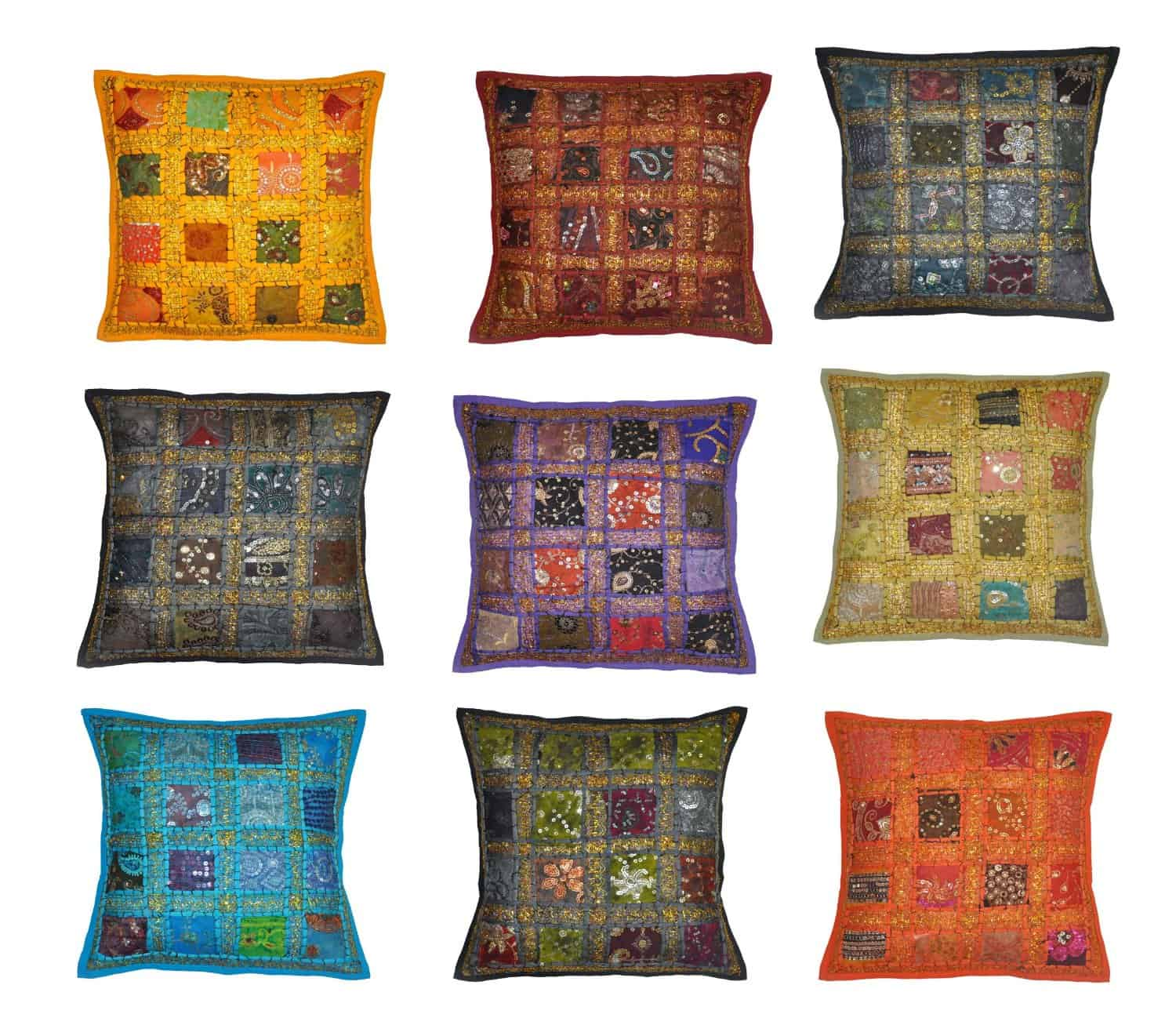 Indian Traditional Handmade Decorative Cushion Covers Patchwork, 16 X 16 Inches (Design #1)