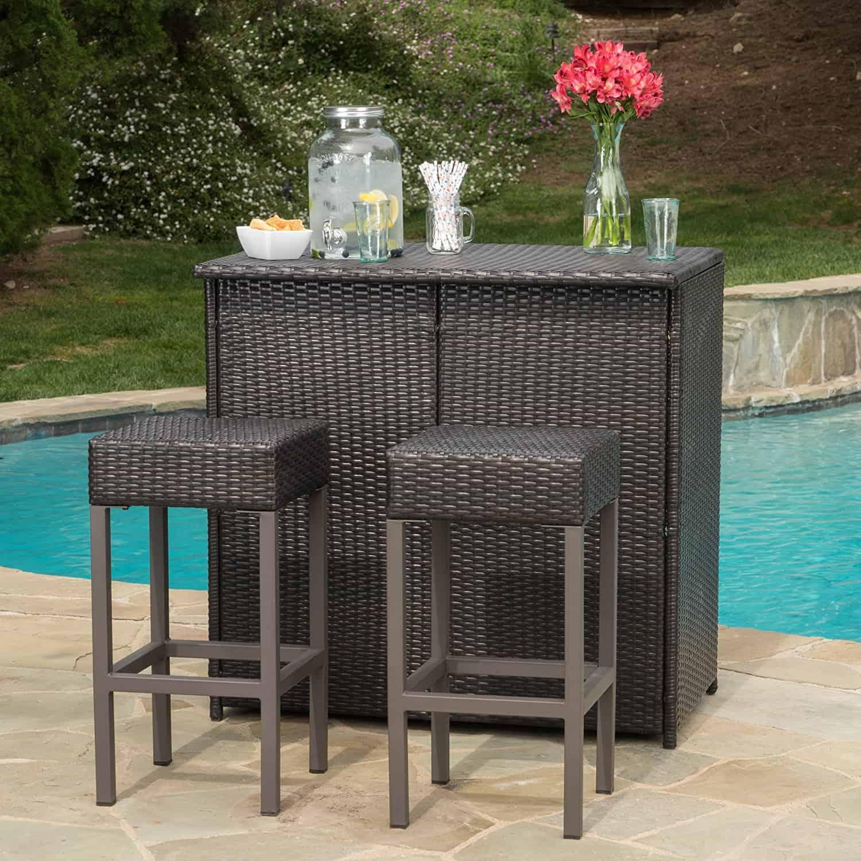 Oneida Patio Furniture Outdoor Wicker Bar Island Set