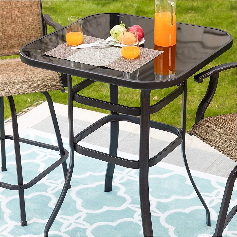 GLASS BAR HEIGHT PATIO TABLE