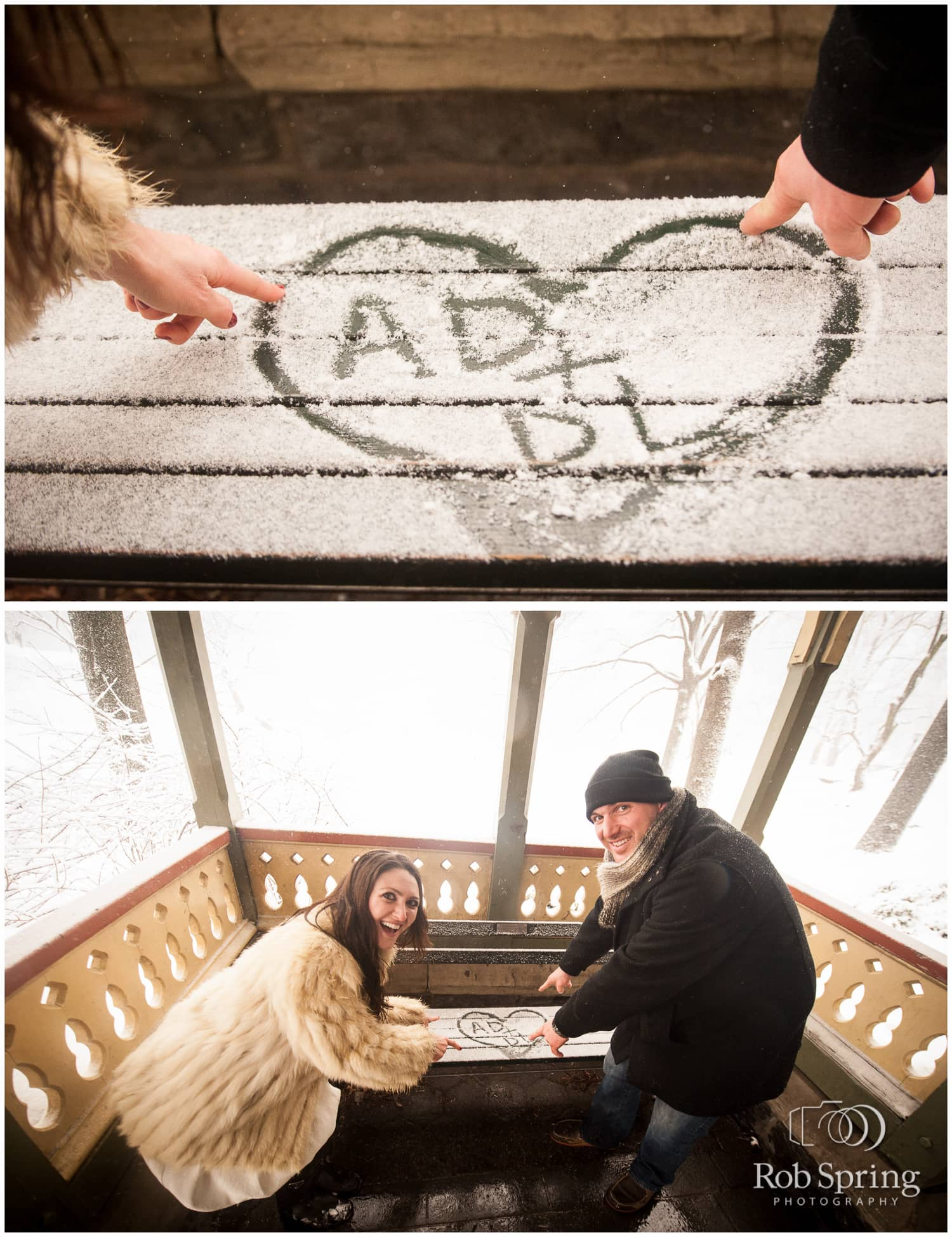 Couple writing initials in the snow