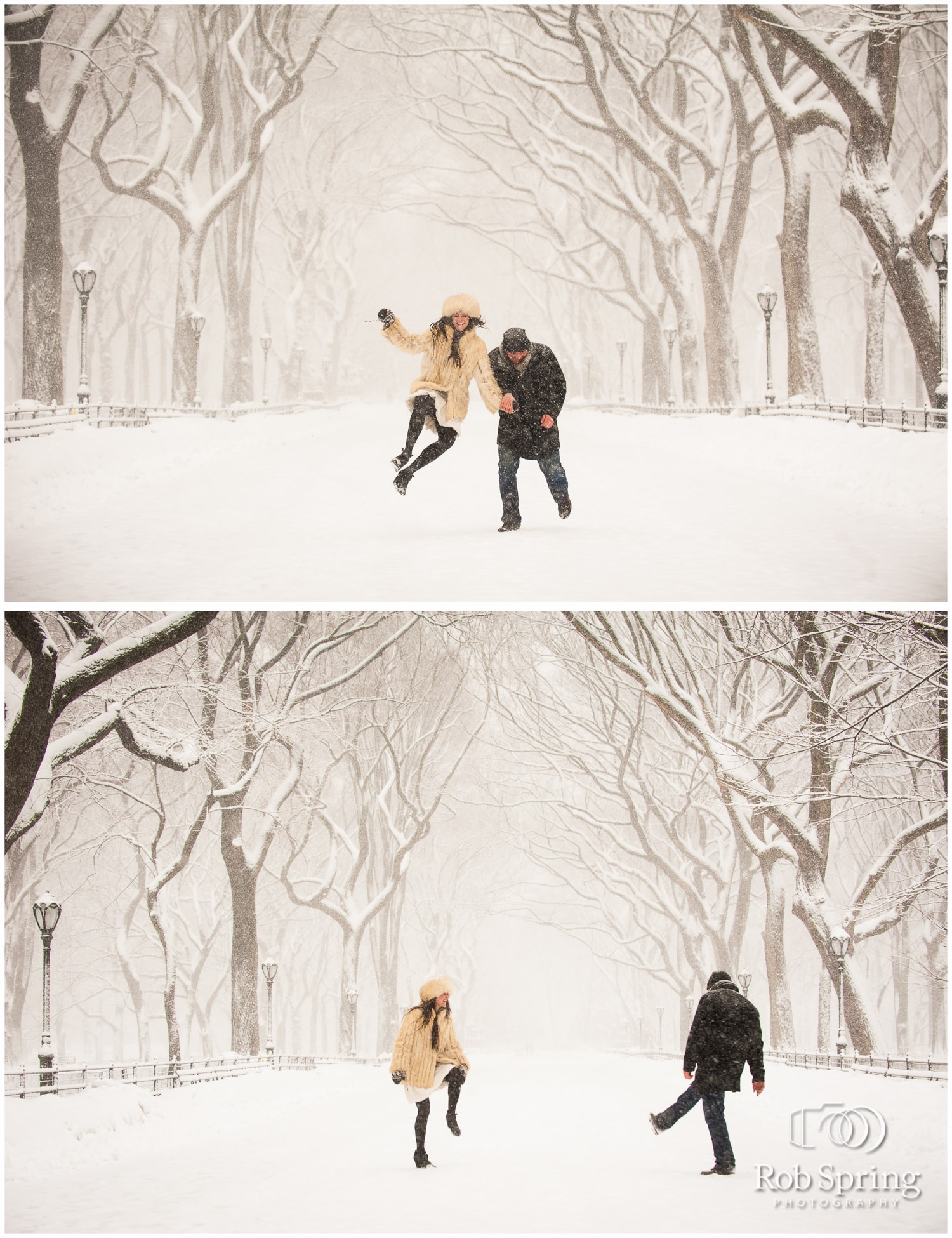 Central Park Engagement Session during blizzard