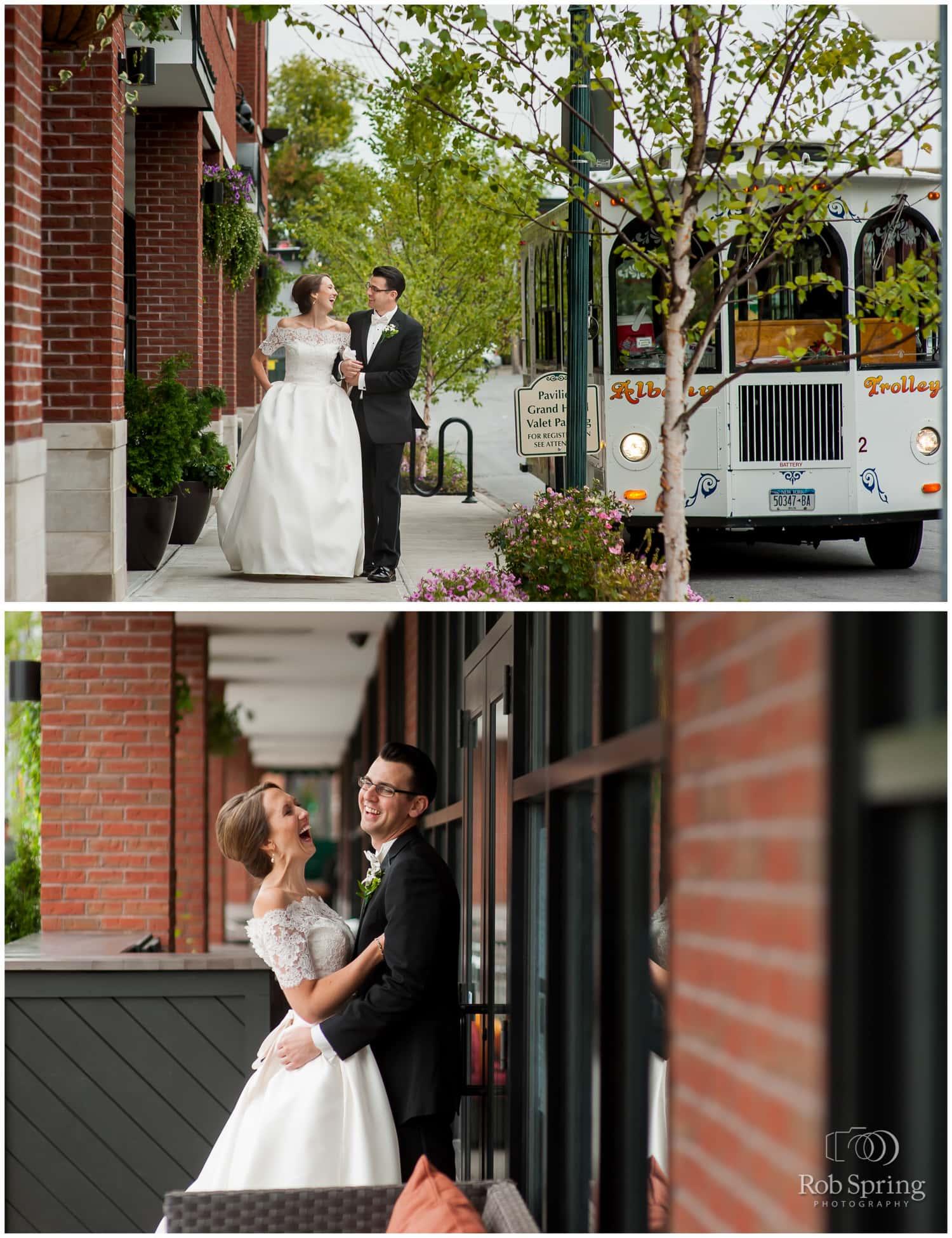 wedding photos with albany trolley, Pavilion Grand Hotel, Saratoga Springs, NY wedding photographer | Canfield Casino wedding