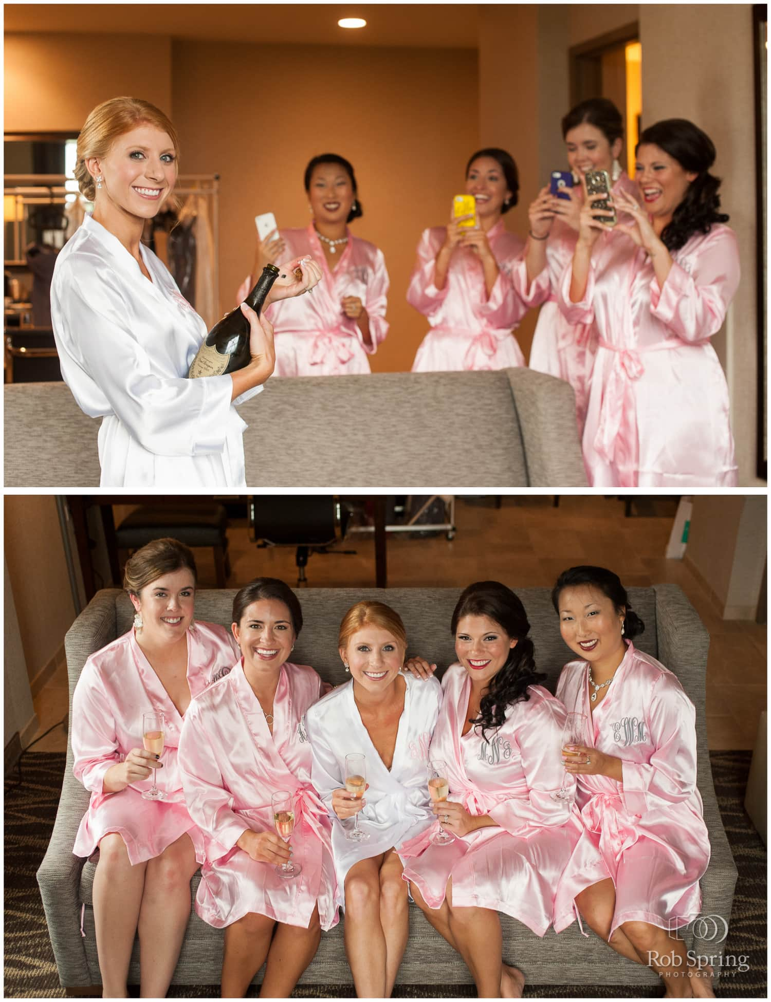 Bridesmaids with pink monogrammed robes, Saratoga Springs, NY Wedding photos