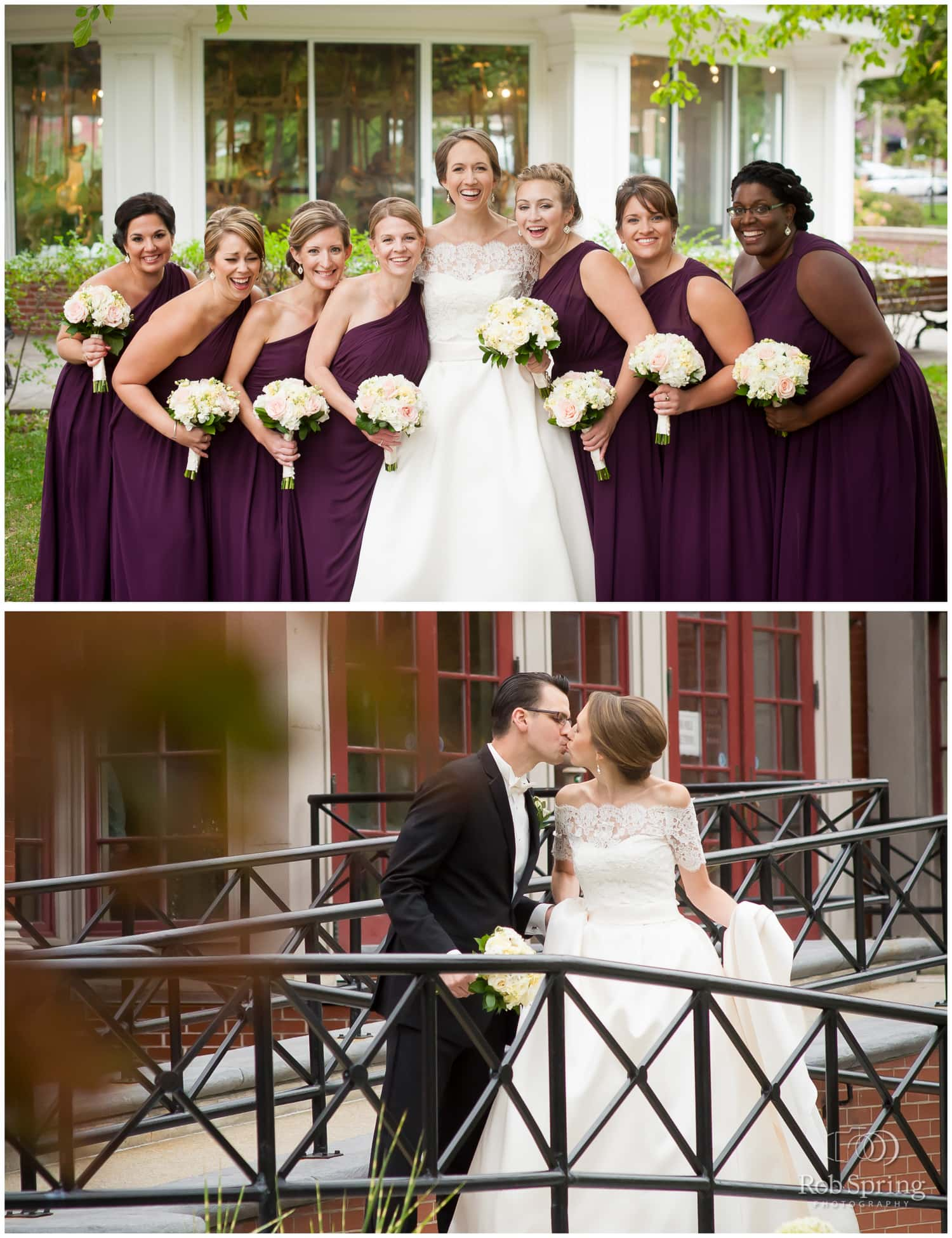 laughing bridesmaids with purple dresses and white flower bouquets, Saratoga Springs, NY Wedding photos