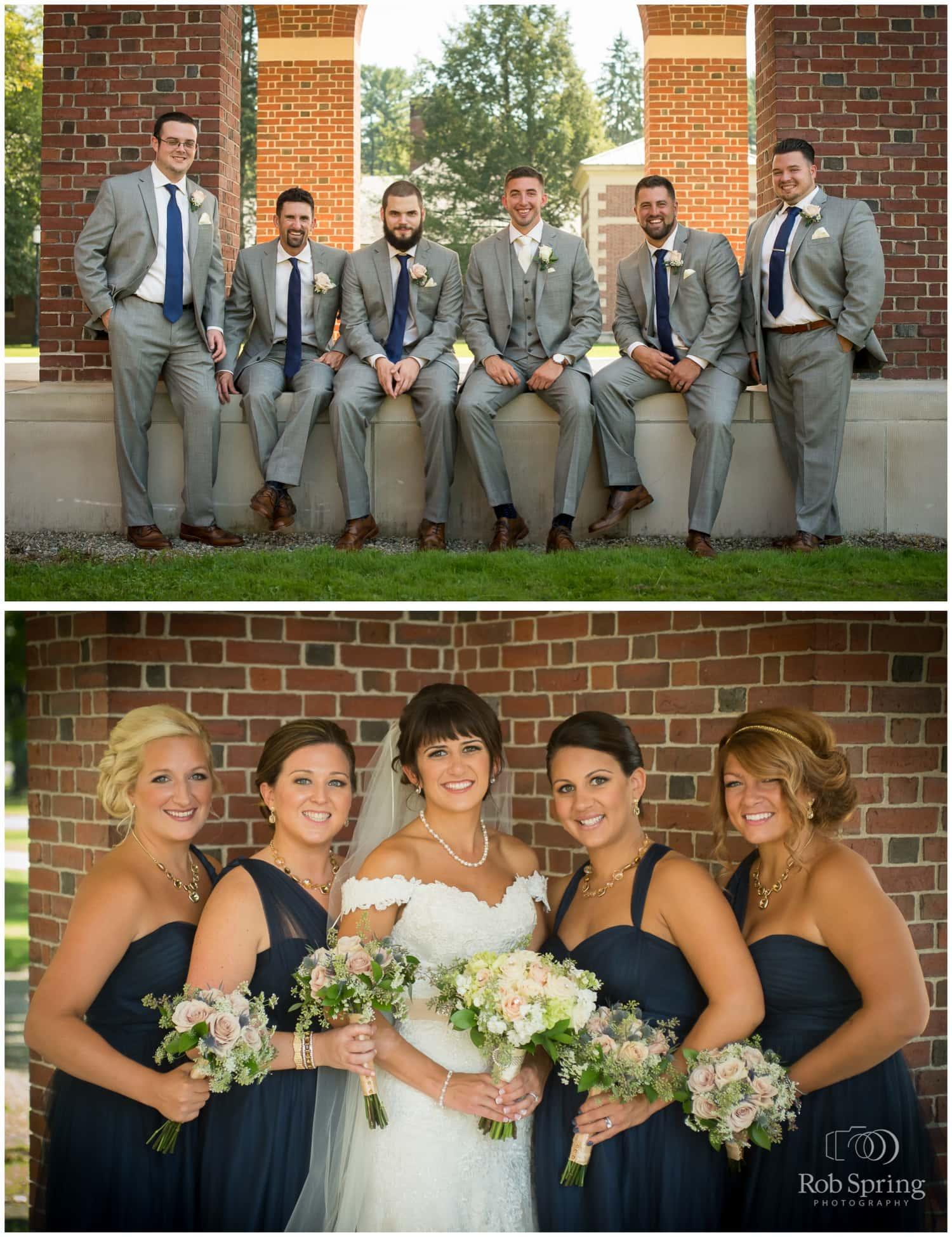 Groomsmen and bridesmaids at Hall of Springs, Saratoga Springs wedding photos