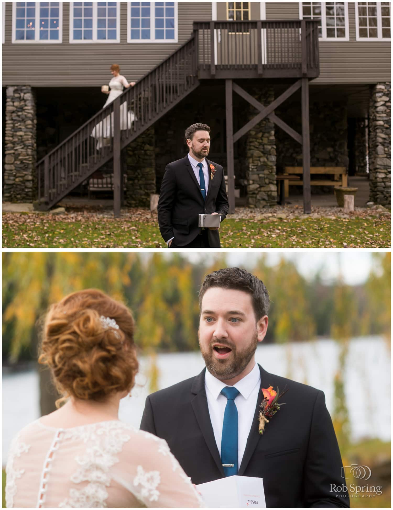 Wedding First look with bride and groom at Crooked Lake House